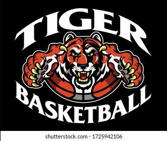 tiger basketball team design with mascot and ball for school, college or league