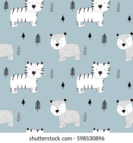tiger and bear pattern vector.