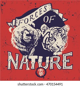 tiger and bear vector animal typography illustration