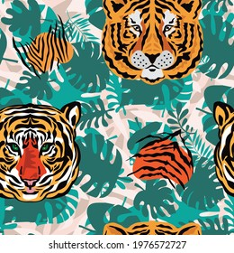 Tiger  beautiful  seamless pattern  in different colors in cartoon realistic flat style. Modern fashion print  skin design for textile, fabric, wallpaper.  Safari art style. Vector illustration
