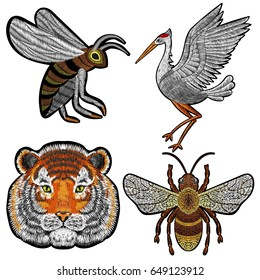 Tiger, bee, crane embroidery patches on black, vector for fashion textile design. Fabric modern decoration