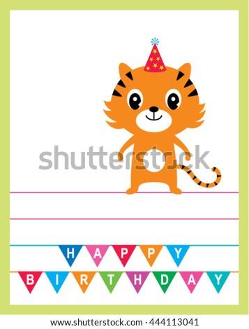 Tiger Birthday Card Stock Vector Royalty Free 444113041 Shutterstock