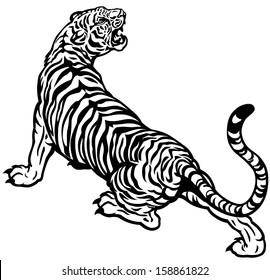 tiger black and white vector illustration