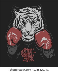 Tiger in boxing gloves and lettering, print design for t-shirt.