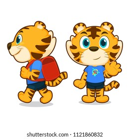 tiger cartoon. tiger boy. animal character.