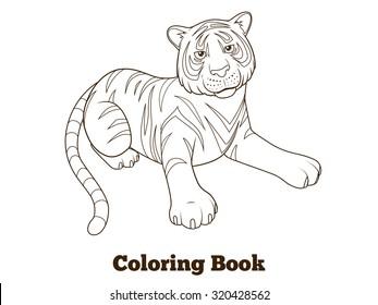 Tiger Cartoon Coloring Book Raster Version Stock Illustration
