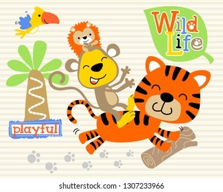 Tiger cartoon with friends