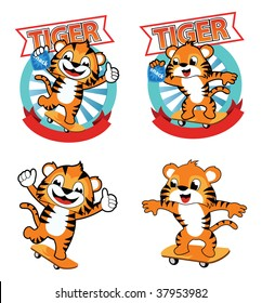 tiger cartoon playing skate board while holding a snack. it
