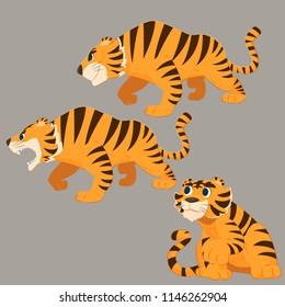 tiger cartoon set. Bengal tiger cartoon set