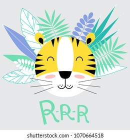 Tiger cartoon with tropical leaves and lettering