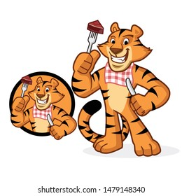 tiger character mascot eat meat vector