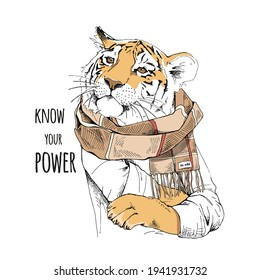 Tiger in the checkered scarf. Humor card, t-shirt composition, hand drawn style print. Vector illustration.