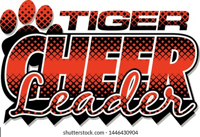 tiger cheerleader team design with paw print and stripes for school, college or league