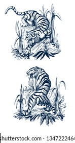 Tiger in chinoiserie style for fabric or interior design.