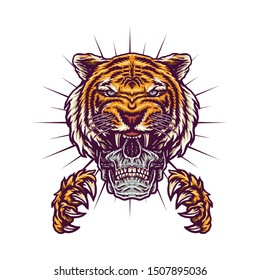 Tiger claws color illustrations using a hand drawing style continued with digital coloring, this is a combination of hand drawing style and digital color