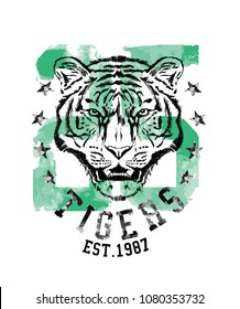 Tiger. college tee print design
