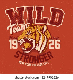 Tiger. college tiger tee print design. typography graphic design.