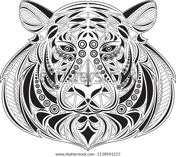 Tiger Coloring Page Tattoo Stock Vector (Royalty Free ...