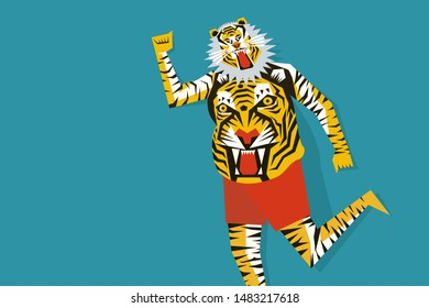 Tiger dance of Kerala, India. Concept for Onam festival