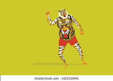 Tiger dance of the Onam festival in Kerala, India.