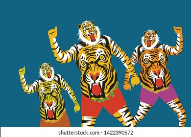 Tiger dance of the Onam festival in Kerala, India