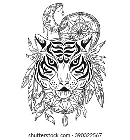 Tiger With Decorative Moon And Dream Catchers Hand Drawn Animal Illustration Native American Poster