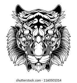 tiger doodle ornament, tattoo and tshirt design