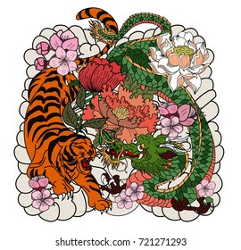 Tiger and dragon fighting tattoo.Japanese style Dragon with tiger and peony flower on cloud tattoo.