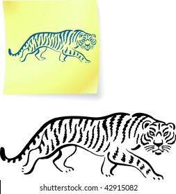 Tiger drawing on post it notes original vector illustration 6 color versions included