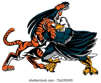 A Tiger and Eagle fighting which gives tribute to traditional school mascots but with a new look and attitude. Suitable for all sports.