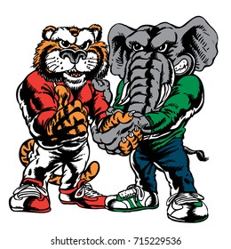 A Tiger and Elephant shaking hands which gives tribute to traditional school mascots but with a new look and attitude. Suitable for all sports.