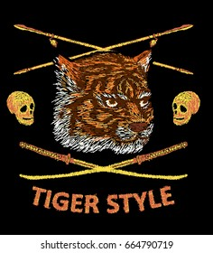 Tiger embroidery design. Japanese style. Bomber jacket embroidery