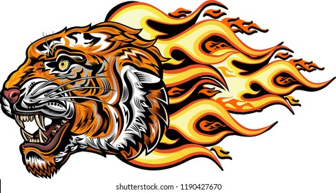 Tiger Face Color Tattoo