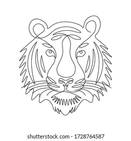 Tiger face line drawing vector. Animal one line art. Flat design. Isolated icon. Unstoppable line drawing. Linear artwork element.