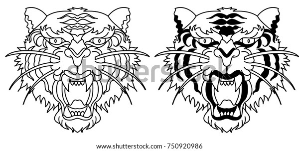 b74ef3891d87d Tiger face silhouette vector isolate on white background.Line art and  doodle tiger head.