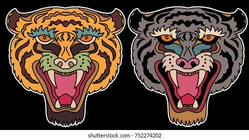 Tiger face sticker vector.Tiger head traditional tattoo.Tiger roaring