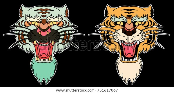 07103a504 Tiger face sticker vector.Tiger head traditional tattoo.Tiger roaring.Old  school style