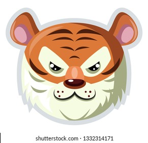 A Tiger face with white fur around in white background, vector, color drawing or illustration.
