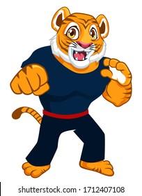 tiger fighter mascot cartoon in vector