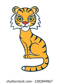 Tiger. Figure stylized cartoon style. Isolated background. Vector