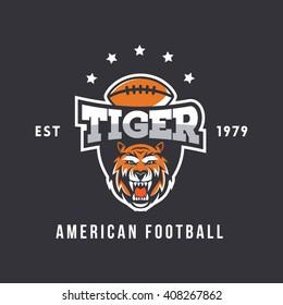 Tiger Football Mascot. American Style