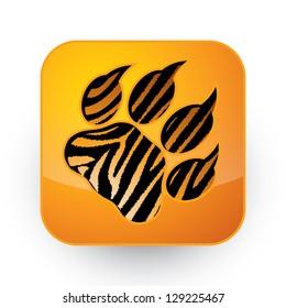 Tiger footprint button - vector illustration