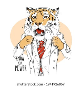 Tiger in the gentleman clothes and in the bow tie. Humor card, t-shirt composition, hand drawn style print. Vector illustration.