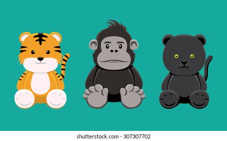 Tiger Gorilla Panther Doll Set Cartoon Vector Illustration