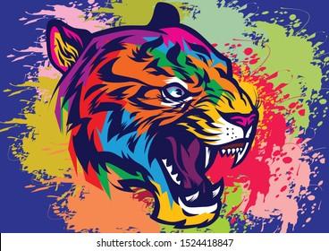 Tiger head background template. Animal illustration.