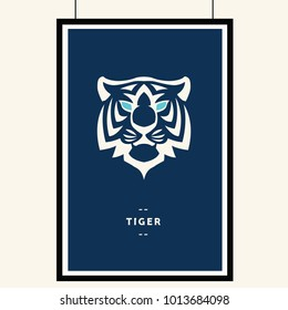 Tiger head with blue eyes on dark blue background and black borders, vector illustration. T-shirt graphics. Tiger logo