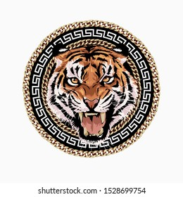 tiger head in chain lace frame illustration