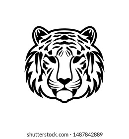 tiger head face logo vector template. Tiger portrait head isolated on white background. Template. Close-up. Clip art. Hand Painting. Ink. Vector
