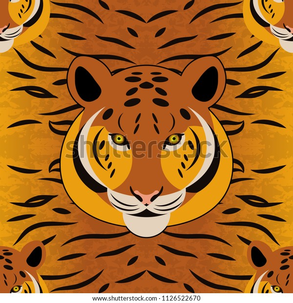 Tiger. Head, fur texture. Seamless pattern. Cartoon style