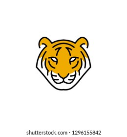 tiger head logo vector icon illustration line outline monoline